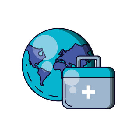 first aid kit with planet earth vector illustration design Иллюстрация