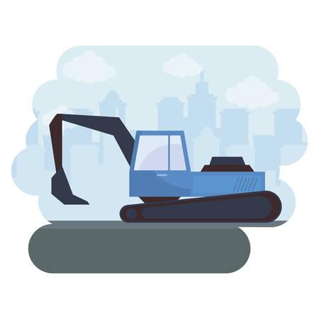 under construction excavator vehicle with cityscape vector illustration design Stock Illustratie