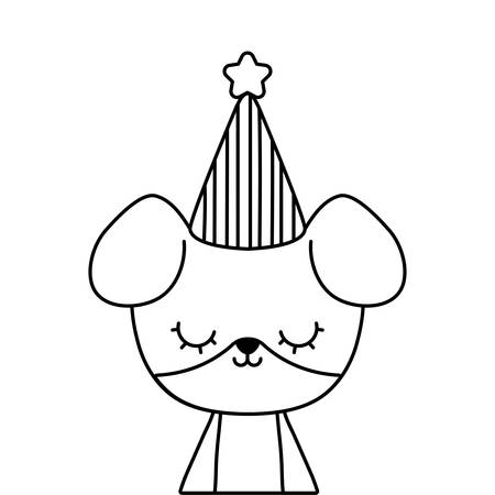 cute dog animal with hat party vector illustration design
