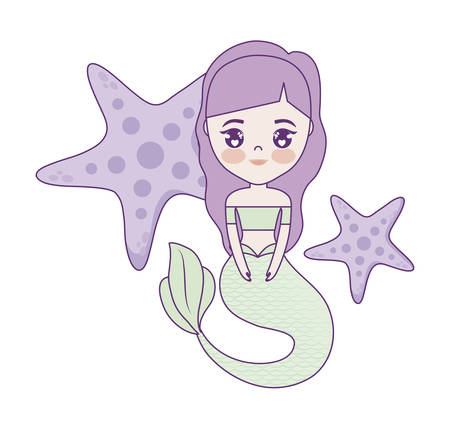 cute mermaid with starfish vector illustration design