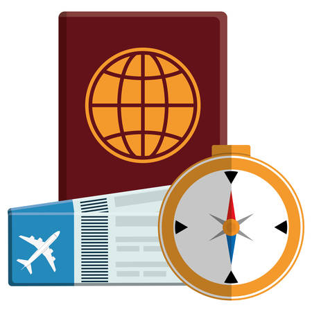 passport document with tickets flight and compass vector illustration design