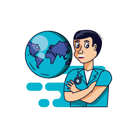 doctor professional with planet earth vector illustration design