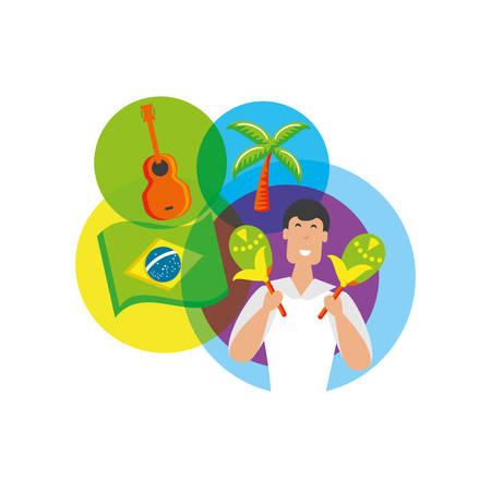 man brazilian dancer with set icons vector illustration design