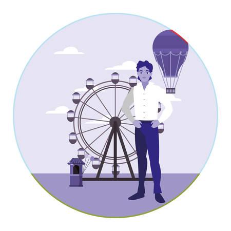 man in the amusement park vector illustration Banco de Imagens - 130748506