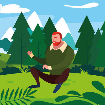strong and bearded man seated in the field vector illustration design