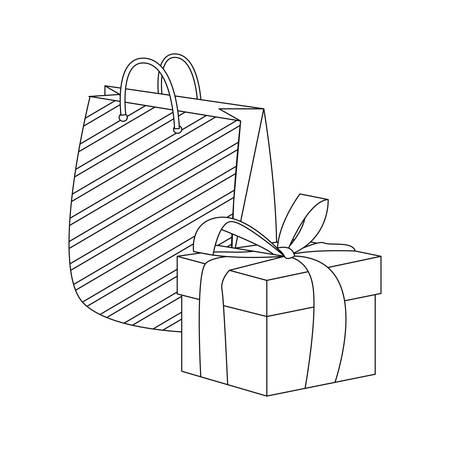 gift box and bag on white background vector illustration 向量圖像