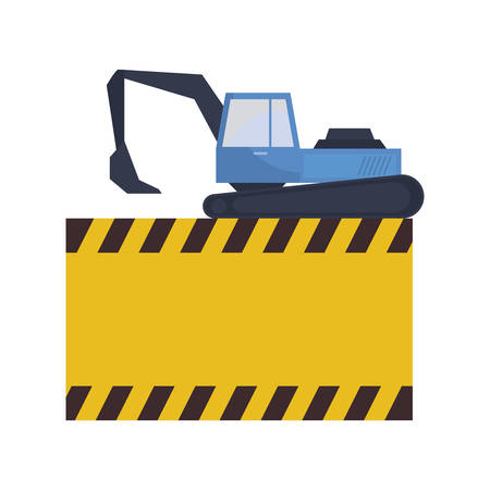 under construction excavator vehicle with signaling vector illustration design Stock Illustratie