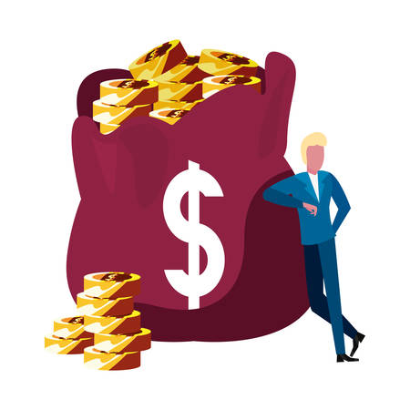 businessman money bag bank savings vector illustration