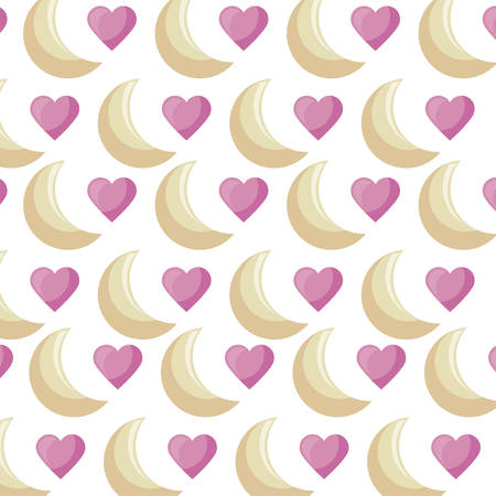 pattern of moons and hearts love vector illustration design Ilustracja