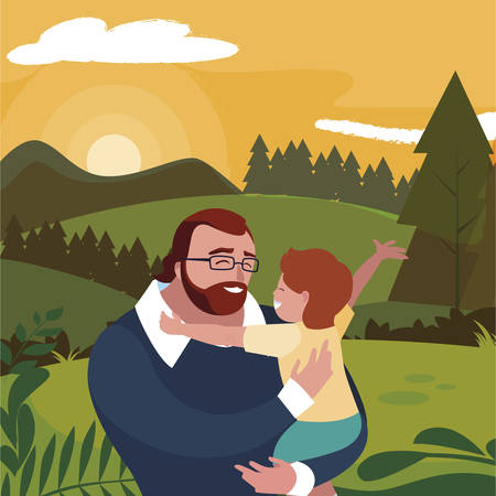 father with son in the field vector illustration design