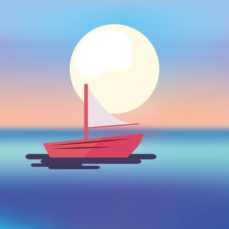 summer time holiday boat sea sun background vector illustration Stock Illustratie