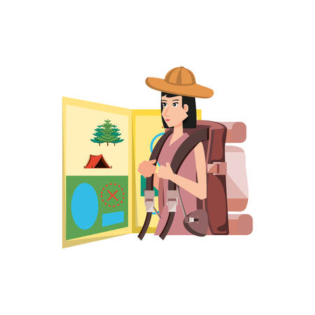 traveler woman with travel bag and map guide vector illustration design Çizim