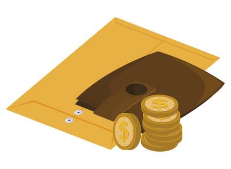 manila envelope with wallet money vector illustration design Иллюстрация