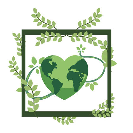 green world shaped a heart leaves happy earth day vector illustration