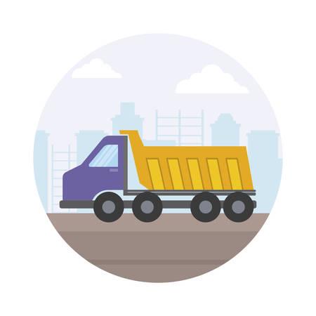 under construction dump truck with cityscape vector illustration design