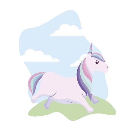 cute unicorn animal in landscape vector illustration design Standard-Bild - 130810654