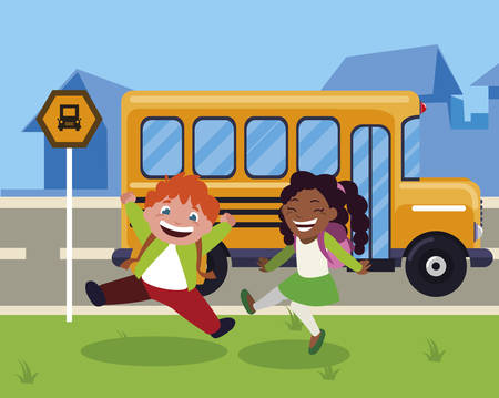 happy little interracial school kids in the bus stop vector illustration design Çizim