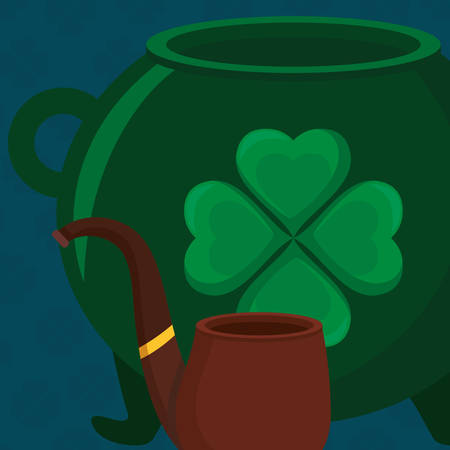 st patricks day card with cauldron and pipe wooden vector illustration design