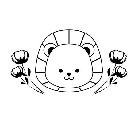 head of cute lion with flowers decoration icon vector illustration design