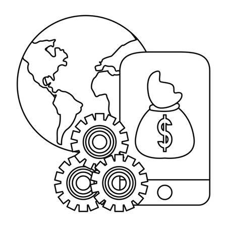 bank money bag cellphone app world vector illustration