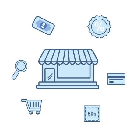 online shopping market bank card cart money vector illustration