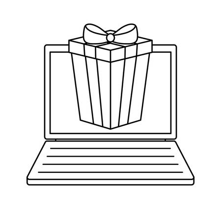 laptop computer with gift box vector illustration design