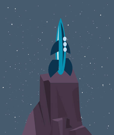 spaceship on rock surface galaxy vector illustration