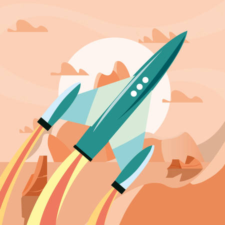 spaceship on planet surface explorer vector illustration