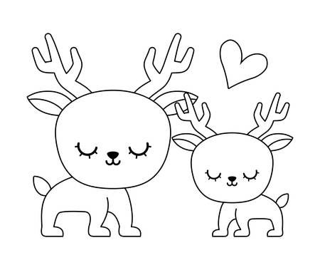 couple of cute reindeer animal isolated icon vector illustration design Illustration