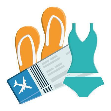 female swimsuit bikini with flip flops and tickets flight vector illustration design