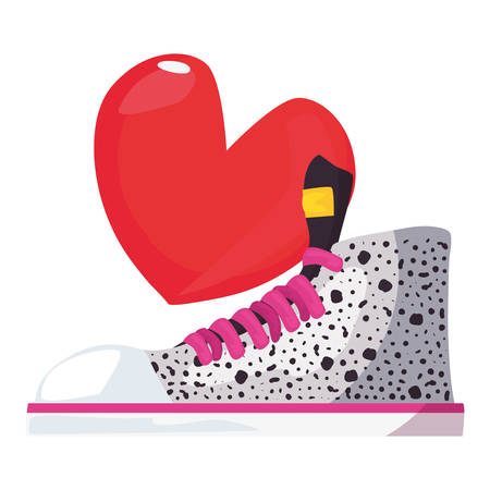 sneaker sport love heart retro 80s style vector illustration Stock Illustratie