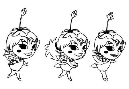 beautiful magic fairies characters vector illustration design