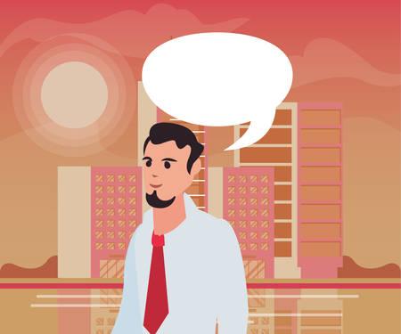 businessman speech bubble city street sky background vector illustration