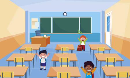 happy little interracial boys in the classroom vector illustration design