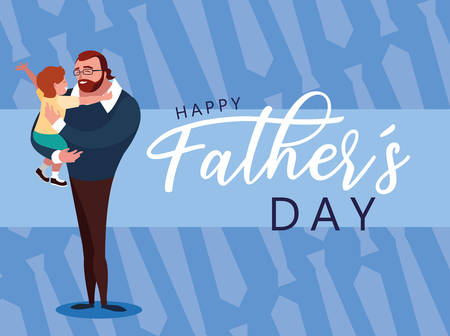 happy father day card with dad and son vector illustration design Иллюстрация