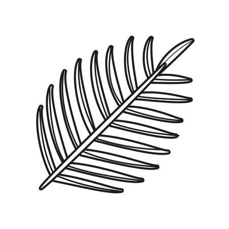 branch foliage outline sketch on white background vector illustration