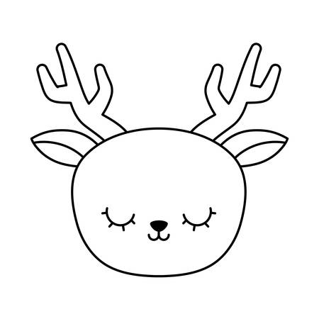 head of cute reindeer animal isolated icon vector illustration design Illustration