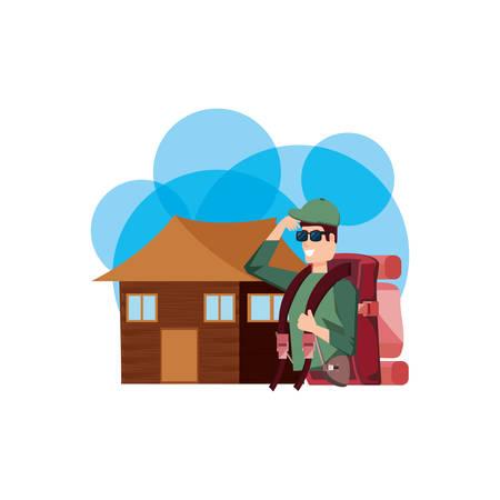 traveler man with travel bag and log cabin vector illustration design