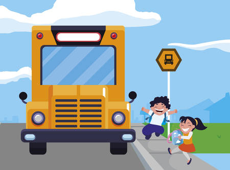 happy little school kids in the bus stop vector illustration design Иллюстрация