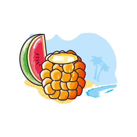cocktail of pineapple with watermelon slice in the beach vector illustration design Çizim
