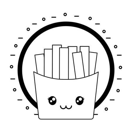 french fries kawaii character vector illustration design Ilustração