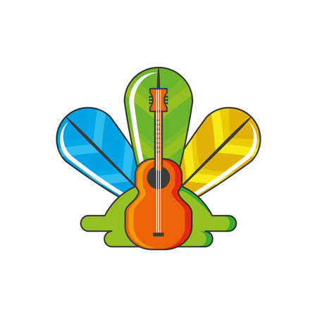 acoustic guitar with feathers decoration vector illustration design
