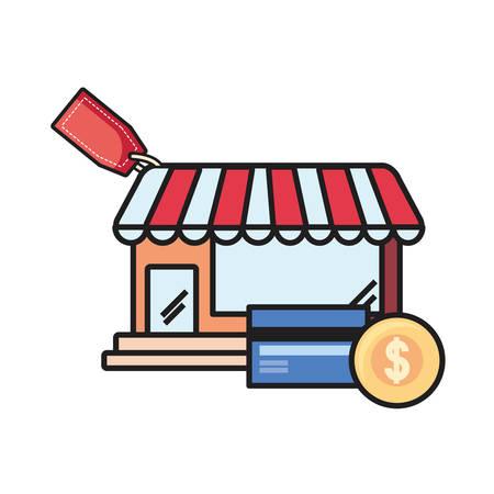 online shopping market bank card and money vector illustration