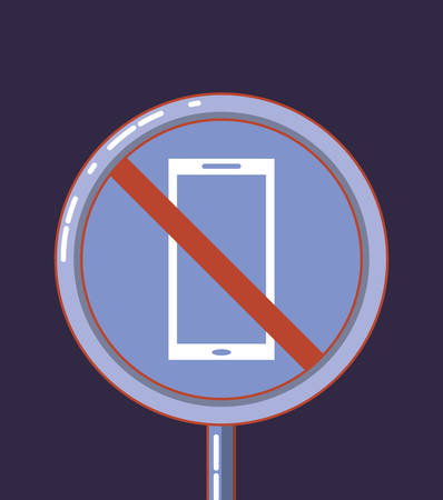 forbidden sign warning with cellphone vector illustration