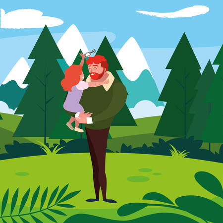 father with daughter characters in the field vector illustration design