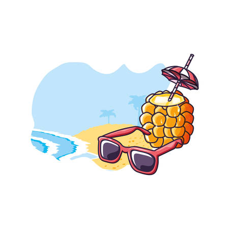 cocktail of pineapple in the beach with sunglasses vector illustration design