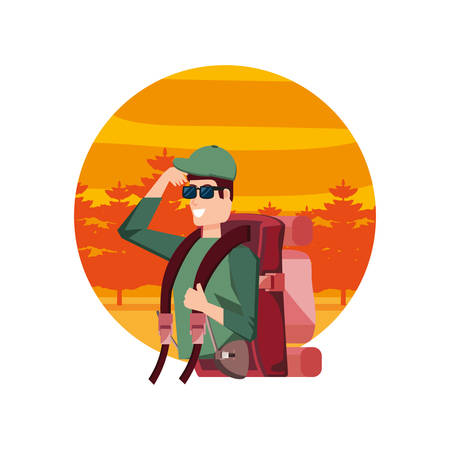 traveler man with travel bag and landscape vector illustration design Ilustrace