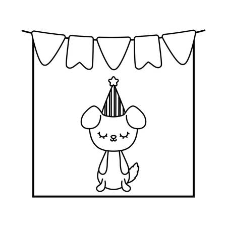 cute dog animal with garlands and hat party vector illustration design Çizim
