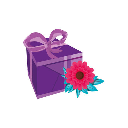 beautiful flowers with gift box present vector illustration design Illustration