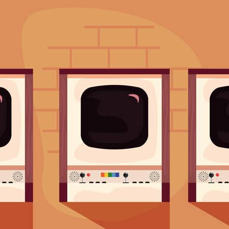 arcade video game retro machines vector illustration design